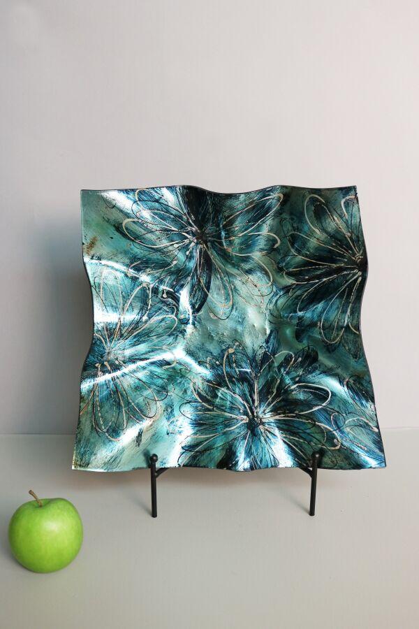 Handmålat Glasfat Flower