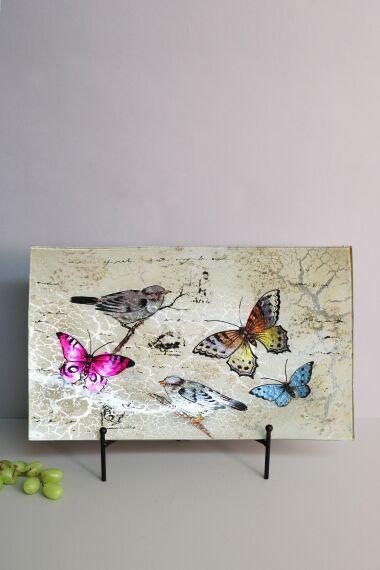 Handmålat Glasfat Fåglar och Fjärilar