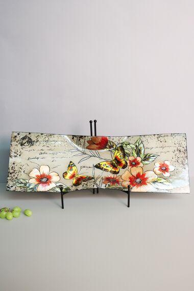 Handmålat Glasfat Blommor och Fjärilar