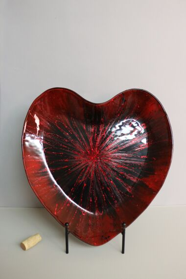 Handmålat Glasfat Heart