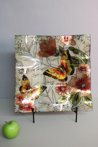Handmålat Glasfat Butterfly