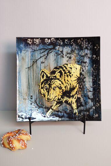 Handmålat Glasfat Wolf