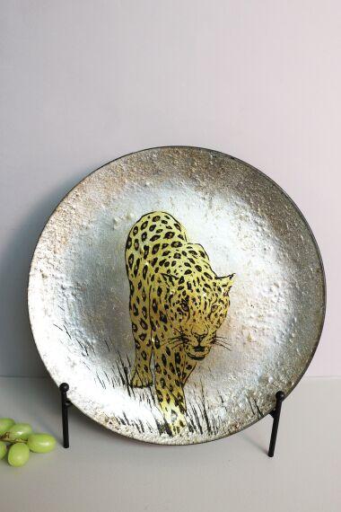 Handmålat Glasfat Leopard