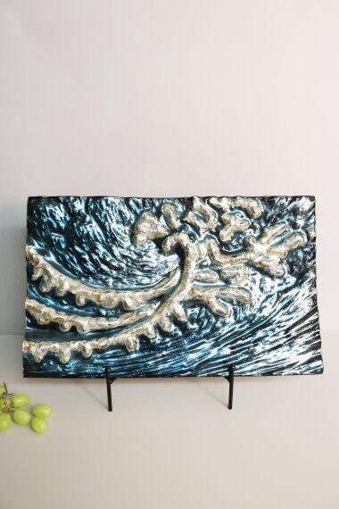 Handmålat Glasfat Ocean Wave